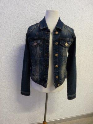 Jeans Jacke Denim Damen Neu Blau mit Lederschnalle Gr. 34