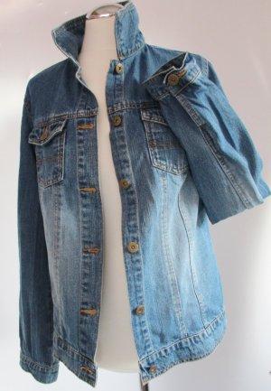 Jeans Jacke John Baner Größe M 38 Schmal Lang eng Blau Bleached Festival Blogger