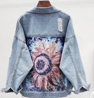 Jeans Jacke mit Blumenmuster