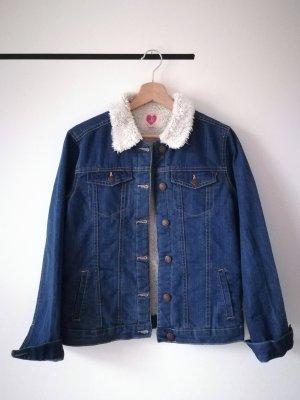 Jeans Jacke mit Kunstfell Kragen