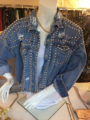 Jeans Jacke mit Nieten Gr S/M blau im used Look