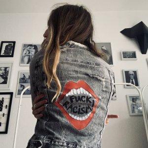 Jeans Jacke XS Grau mit handmade print