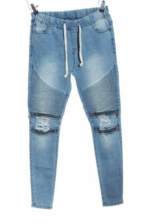 Jeans Jogger Biker Style blau bleached Gr. M