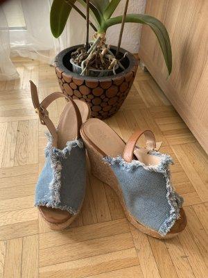 Jeans Keilsandalen/Wedges - Fransen - LightBlue- Größe 36