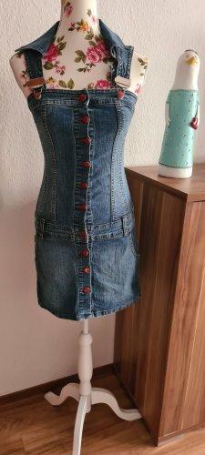 Blutsschwester Robe en jean rouge fluo-bleu acier coton