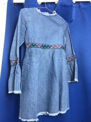 Jeans Kleid Stickerei