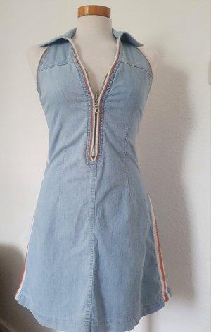 Jeansowa sukienka pomarańczowy-błękitny
