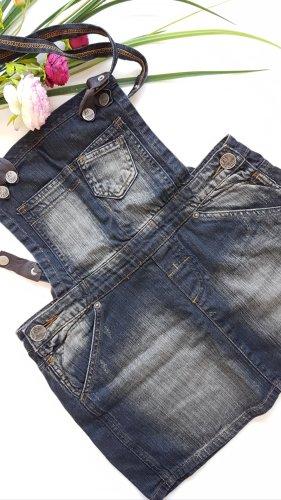 Fishbone Pinafore Overall Skirt pale blue-dark blue