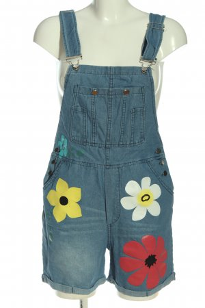 Jeans Bib Shorts blue flower pattern casual look