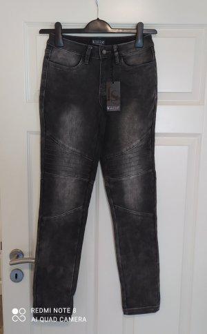 Laura Scott Jeans coupe-droite gris foncé-gris anthracite