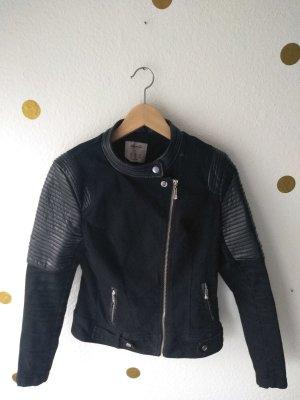 Jeans-Leder Jacke schwarz