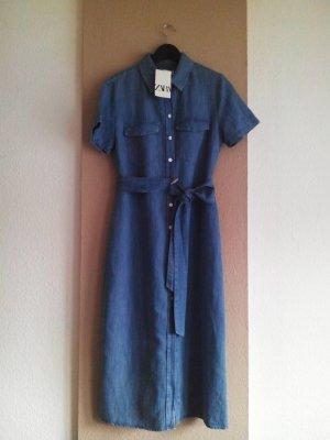 Jeans Midi-Hemdblusenkleid mit Gürtel aus 100% Baumwolle, Große M, neu