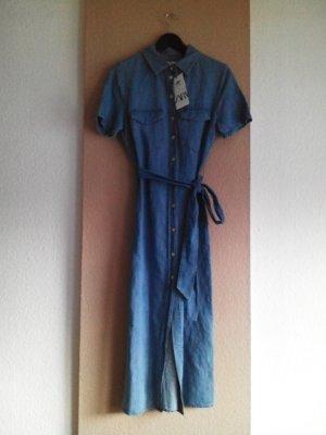 Zara Robe en jean bleu-bleu fluo coton