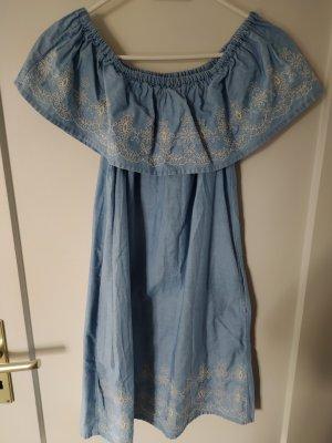 Denim Co. Robe en jean blanc cassé-bleu azur