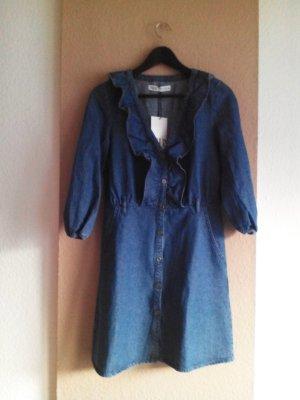 Zara Vestido vaquero azul oscuro-azul Algodón