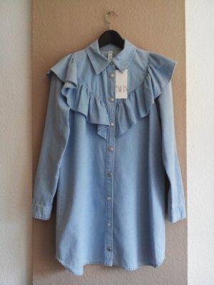 Jeans Minikleid mit Volant aus 100% Baumwolle, Größe S, neu