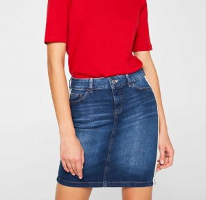 Jeans-Minirock mit Racing-Streifen