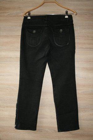 Jeans mit Lederdetails schwarz Casual-Look von Marella gr.34 / 1 x getragene