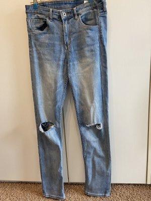 H&M Jeansy z wysokim stanem stalowy niebieski