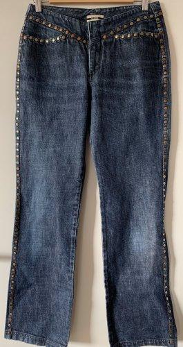 Closed Vaquero de corte bota azul acero-color bronce