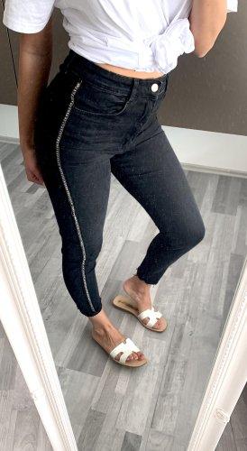 Jeans mit Nieten Glitzer Silber Details ZARA High Waist Schwarz / 36 38