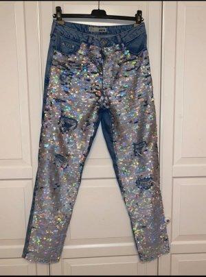 Topshop Jeans coupe-droite bleu-argenté