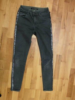 Jeans mit Pailletten grau/kaki grün