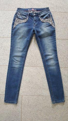 Jeans mit Perlen von Buena Vista, Modell Maxima, Größe S