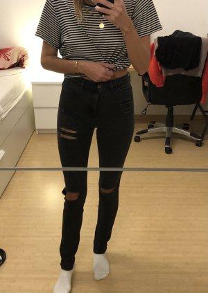 Asos Jeans a vita alta nero-antracite
