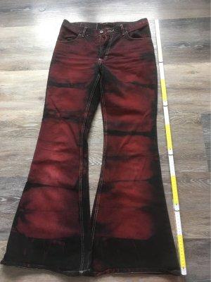 Jeans flare noir-rouge foncé
