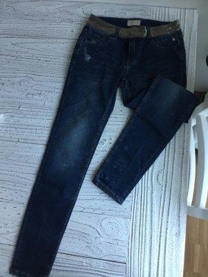 Tube jeans donkerblauw-goud