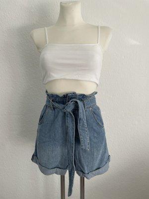 Jeans Neu Short Denim gr 34 blau High Waisted