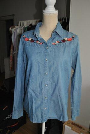 H&M Bluzka jeansowa błękitny-stalowy niebieski