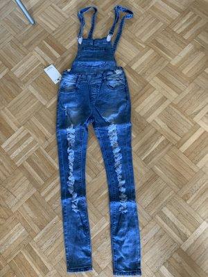 Salopette en jeans multicolore coton