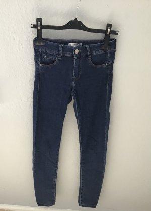 Pull & Bear Jeans skinny bleu acier coton