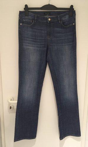 Massimo Dutti Jeansy z prostymi nogawkami ciemnoniebieski Bawełna