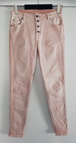 Hand Work Denim Pantalón de tubo rosa tejido mezclado