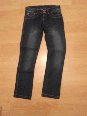 okay Jeans coupe-droite bleu foncé coton