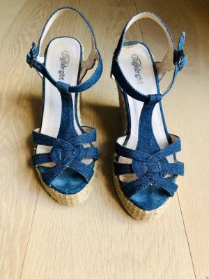 Buffalo girl Platform Sandals oatmeal-blue
