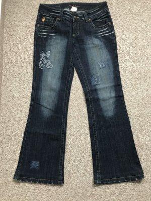 Blue Vision Boot Cut Jeans dark blue-blue cotton