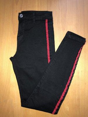 Bershka Vaquero skinny negro-rojo