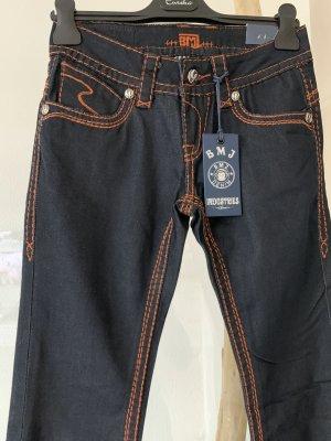 Jeans .. schwarz .. Kontrastnähte orange .. Gr. W.27/L.34 # BMJ Denim Jeans # Neu mit Etikett
