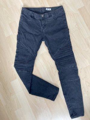 Jeans schwarz skinny, gerippt