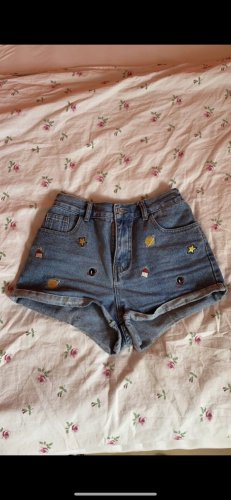 SheIn Pantalón corto de tela vaquera azul