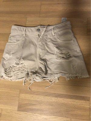 Pull & Bear Pantaloncino a vita alta beige chiaro