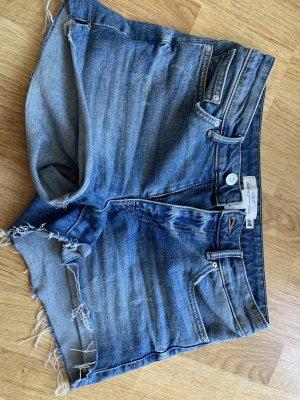 H&M Pantalón corto de tela vaquera azul acero
