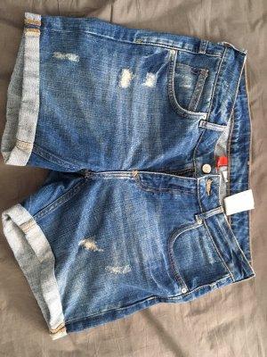 H&M Pantalón corto de tela vaquera azul