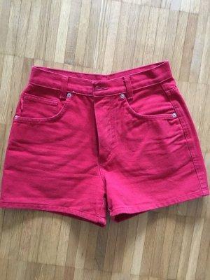 Pantalón corto de tela vaquera rojo ladrillo