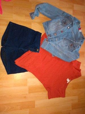 Pull & Bear Short en jean bleu foncé