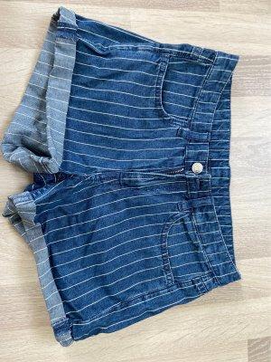H&M High-Waist-Shorts white-blue